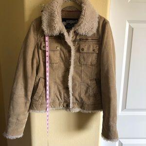 Sugarfly Jackets & Coats - Sugarfly M Corduroy Faux Fur Short Coat